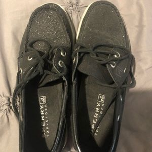 Youth black sparkly sperrys